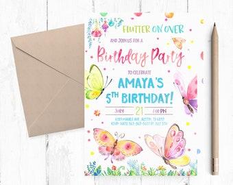 Butterfly Invitation, Butterfly Birthday Invitations, Butterfly Birthday Invites, Spring Invitations, Spring Birthday Invitation, invite