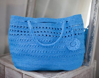 Blue Crochet Bag Eco Friendly from Upcycled Bags Plastic Yarn Handbag Lightweight Grass OOAK Tote Summer Spring Winter Beach Plarn Bag