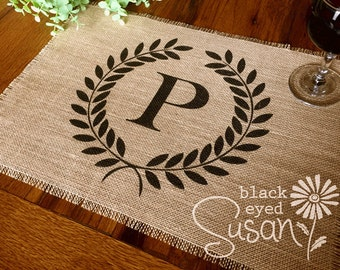 """Monogram Laurel Wreath Placemat of Natural Burlap with Raw and Reinforced Edge 