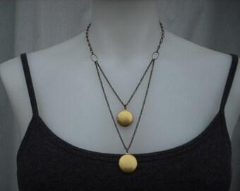 locket necklace, double strand locket necklace  - antique brass