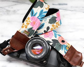 Rifle Paper Co. Camera Strap in FLEUR with Side Release Buckles - 1.5 inches wide for DSLR Camera or Mirrorless Camera - Canvas Camera Strap