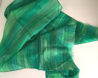 Green Silk Chiffon Scarf Watercolor Stripes Large Designer Scarf Vintage Oblong Rectangle Neck Head Scarf Irene Jackan Paris soie
