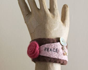 Peace Upcycled Cuff Bracelet Felted Vintage Wool Plum