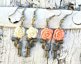 Pink Rose Pistol Earrings, White GUN EARRINGS, Western Jewelry, Stainless Steel, Nickel Free, Pastel EaRRinGs