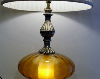 Beautiful Amber Gold Glass And Ornate Metal Base 3 Way Table Lamp With  Nightlight In