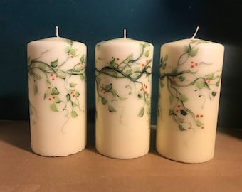 Hand Painted pillar candle, Choose 3,6 or 8 inch candle and quantities, earthy vines and berries decorative pillar candle