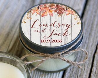 12 - 4 oz Soy Candle Wedding Favors - Fall Leaves Label - Autumn Bridal Shower Favors - Rustic Bridal Shower Favor - Fall Wedding Favor