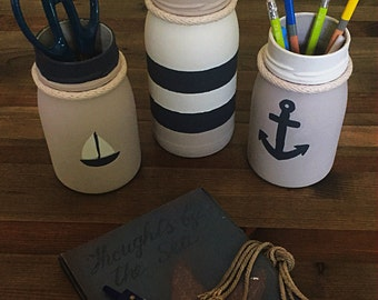 Nautical Glass Pencil Holders