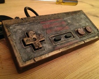 Custom Nintendo NES style USB Controller, Retro Gaming Steampunk Ed. antique metal .. fan art