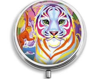 Pill Box Pill Case Colorful Tiger Pill Holder Pill Container Trinket Box PillBox Vitamin Holder Medicine Box Mint Tin Gifts For Her