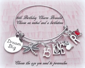 Happy 15th Birthday Charm Bracelet, Personalized Jewelry Gift with Initial and Birthstone, Gift for Daughter, Graduation Gift, Gift for Her