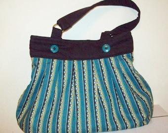 teal strips handbag