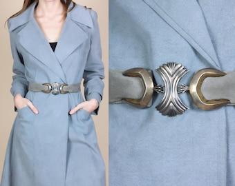 """Vintage Suede Belt With Silver Metal Buckle by JR Ltd - 32"""""""