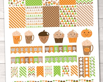 DIY Printable Planner Stickers Happy Fall Planner Sticker Set Pumpkin Spice Coffee Weekend Banners Flags & To Do Checklists