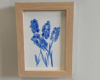Purple Lavender Original Painting Flower Framed
