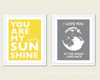 Sun and Moon Nursery Prints - Yellow And Grey Nursery Art - You Are My Sunshine Print - I Love You To The Moon and Back - Set of 2 prints