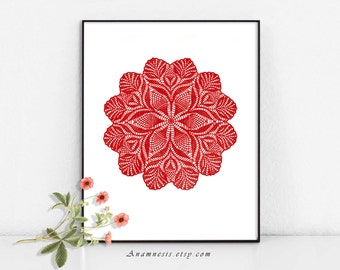 DOILY 1 IN RED - digital image download - printable vintage image for transfer - totes, pillows, prints, fabric, towels, tags, wall decor