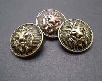6 Pcs 0.59~0.98 Inches Retro Bronze/Copper Lion Head Metal Shank Buttons For Coats Sweaters