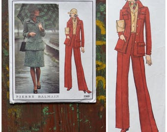 Vintage 70s Vogue Designer Original, Dressmaking pattern, Designer Pierre Balmain, 2965, Misses' Jacket, skirt and pants, Size 8, bust 31.5""