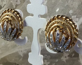 Abstract Rhinestone and Gold Tone Metal Earrings Clip On Unsigned Rhinestone Tiara Motif Crowned with Gold Tone Arcs 1960's 1970's
