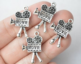 4 Pcs Movie Camera Charms Antique Silver Tone 3D 25x15mm - YD0571