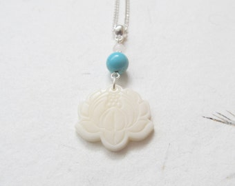 Lotus necklace, yoga necklace, tagua nut necklace
