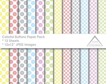 Button Papers, Digital Paper Pack, Rainbow Buttons, Button Background, Cute as a Button Papers, Digital Scrapbooking, Instant Download