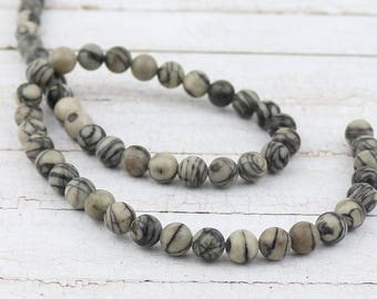 6 mm Picasso jasper beads • Natural Picasso jasper beads • Gray Picasso jasper • Grey Jasper beads • Gemstone beads • Jewelry supplies