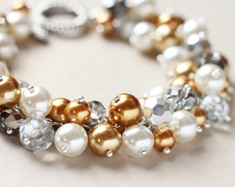 LAST ONE - Gold Silver and White Pearl Cluster Bracelet - Glamor