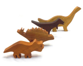 Wooden Dinosaur Toy Play Set, Wooden Dinosaur Toy, Wood Dinosaur, Gift for Boys, Stegosaurus, Brontosaurus, Triceratops, T-Rex