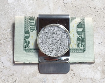 Wall Street Map Money Clip Stainless Steel gift for Boss, Dad Groomsmen or Co-Worker New York Vintage Atlas