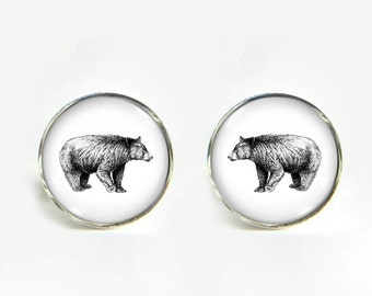 Gentle Bear small post stud earrings Stainless steel hypoallergenic 12mm Gifts for her
