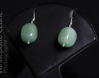Earrings in 925 sterling silver and green aventurine rectangle bead