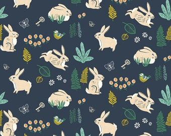 16.50 a Yard Organic Cotton Poplin - The Hidden Garden - Bunny Hop Dusk