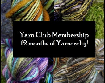 Yarn club knitting gift Membership club-1 year membership handspun yarn, basic, free shipping