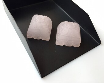 Matched Pairs Chandelier Caps Rose Quartz Carvings, Hand Carved Stone Carvings, Pink Gemstone Carvings,  19x19mm - SKU C6