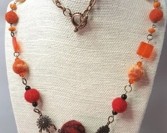 Lily Mars Original Artisan 'Sunset Fire' - Felted Bead and Czech Glass Necklace in Reds, Oranges, Yellows and Antique Copper