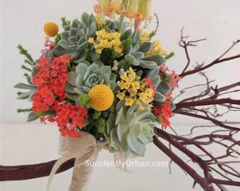 Suculenta Ramos, suculento ramo novia, ramo de Novia de la boda