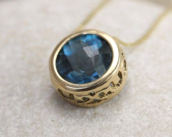 14K Solitaire Necklace - London Blue Topaz, Peridot, or Ruby Solitaire Necklace, Gold Sliding Necklace