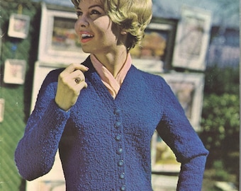 College Cardigan • 1960s Cardigan Sweater Pattern • 60s Vintage Knitting Patterns • Bulky Boucle Yarn Retro Knit PDF