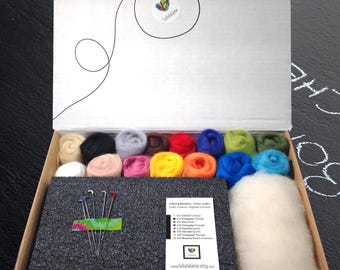 "Needle Felting Kit / 3oz (90gr) of Merino roving in15 colors / 1 High density foam pad 7"" X 5"" X 2"", 1oz (28g) of white Wool core, 5 needles"