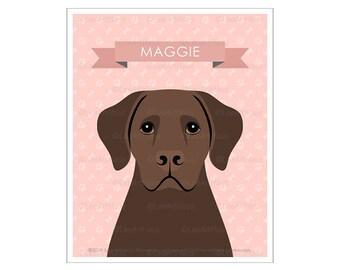 76N Dog Drawing - Personalized Brown Labrador Retriever Wall Art - Dog Nursery Decor - Brown Lab Print - Labrador Art - Dog Portrait