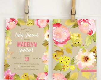Pink Floral Baby Shower Invitation, Baby Girl Shower, Baby Shower Invite, Garden Shower Invite, Lined Envelopes