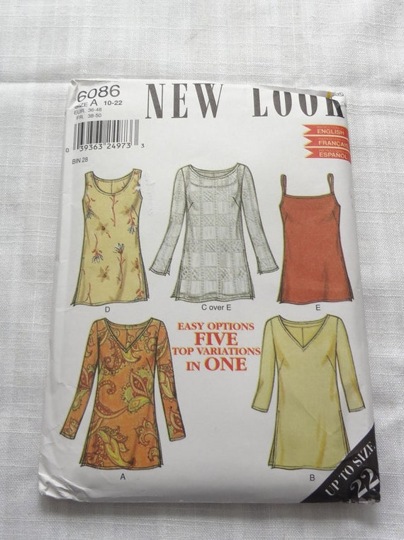 UNCUT New Look Sewing PATTERN 6086 Misses TOPS, Size A (10-12-14-16 ...