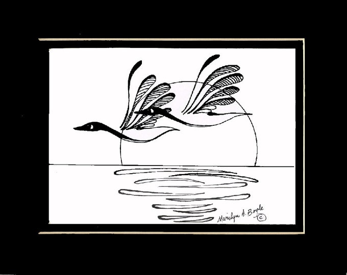 ORIGINAL INK DRAWING; Canada Geese, ink drawing, original art,Canadian art, nature, wilderness, wings, feathers, wall art,