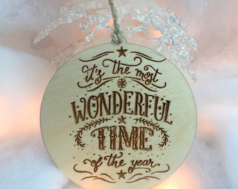 Ornament, Christmas Ornament, Tree Ornament, It's the Most Wonderful Time of the Year, Personalized, Custom