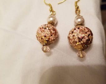 Pink Sherbet with Gold Drop Earrings