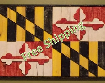 Rustic Maryland Flag  (With Frame) Constructed from Reclaimed/Repurposed Wood (Free Shipping)