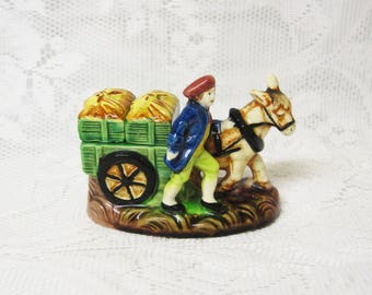 Farmer and Donkey with Cart Salt and Pepper Shakers, Japanese Ceramics, Hand Painted