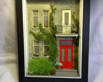 Dollhouse, Miniature  House Front Diorama, Shadowbox Art, Sculpture Wall Art
